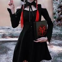 Gothic Punk Girls Long Sleeve Dresses Hollow out Lace up Black Lolita Dress 2018 Autumn Women Hipster Mini Dress