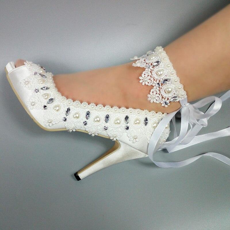 Ayakk.'ten Kadın Pompaları'de Yeni Bayan düğün ayakkabı Peep Toe beyaz dantel up ayakkabı Bayanlar parti elbise ayakkabı kadın balık ayak 5 cm /8 cm/10 cm Yüksek topuk ayak bileği kayışı'da  Grup 1