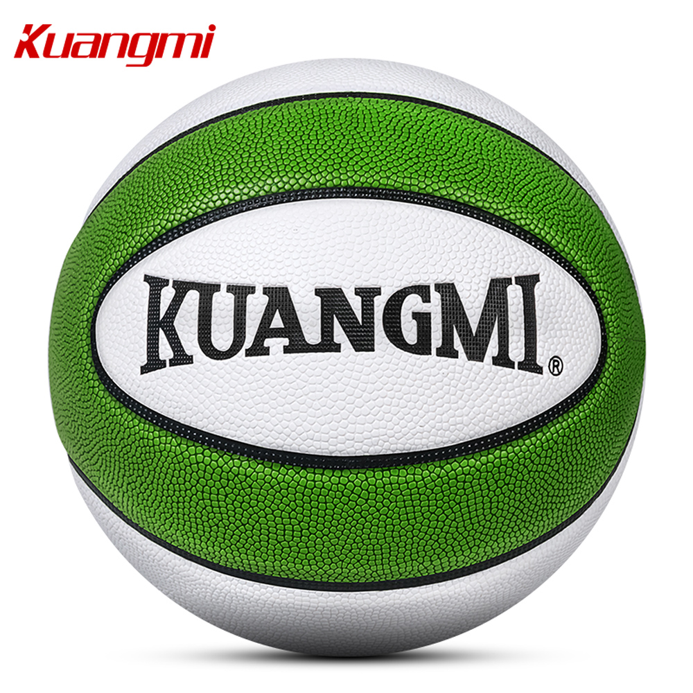 Kuangmi Size 7 6 5 PU leather Basketball Training Ball Match Indoor Outdoor Free With Net Bag+ Needle Christmas New Year gift p76 420 women s basketball size 6