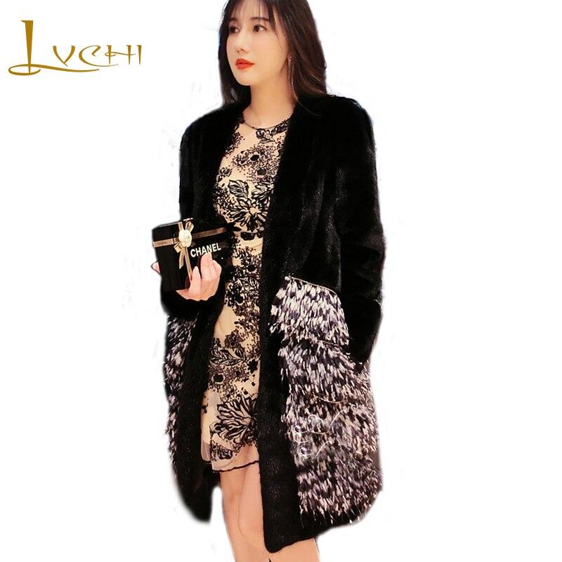 LVCHI hiver 2019 vison manteau femmes col en v Patchwork autruche plume vison manteau mince noir dame perte moyenne Cool dame vison manteaux