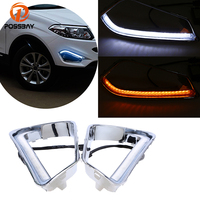 POSSBAY White+Yellow LED DRL Daytime Running Lights for Chery Tiggo 5 2013 2014 2015 Turn Signal Front Lower Bumper Grilles