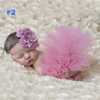 10 Colors Beautiful Baby Tutu Skirt with Flower Headband Fashion Newborn Photograph Prop Tutu and Headband TS025 1