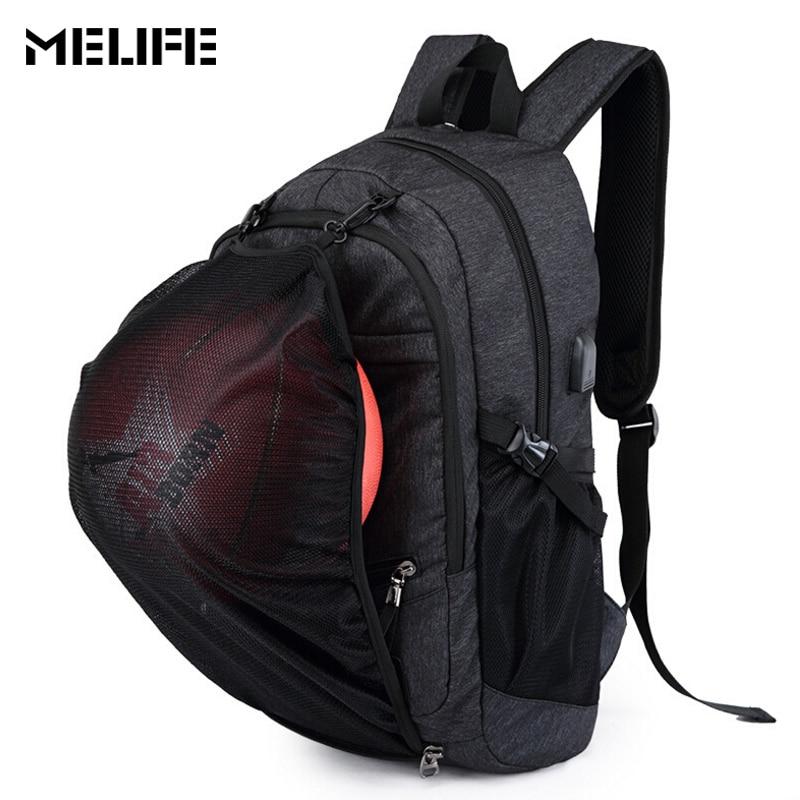 MELIFE Sport Backpack Men Basketball Backpacks School Bag For Teenager Boys Soccer Ball Pack Laptop Bags Football Net Gym Bags