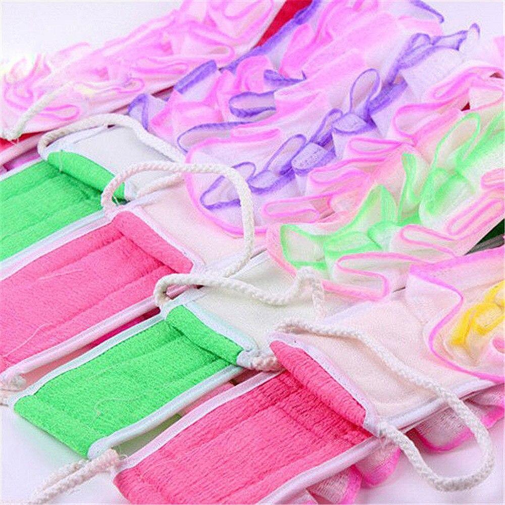 2017 1PCS fiber and sponge multicolor Strip Shower Towel Dual-Use Thickened Bath Flower Rubbing Back Bath Ball 80cm * 8cm #0908