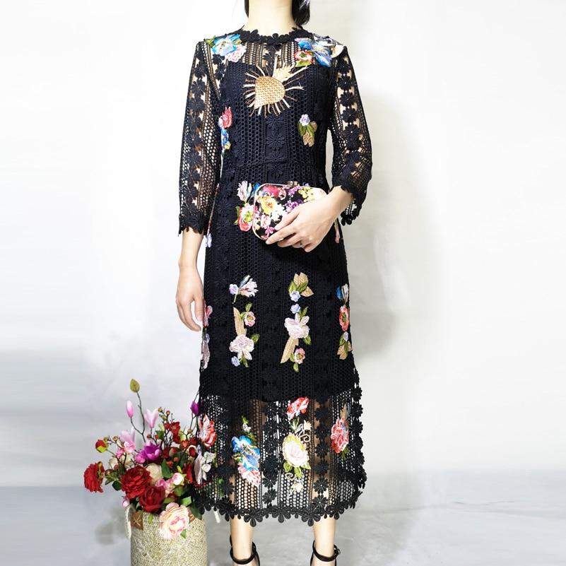 Haute qualité créateur robe de piste femmes 3/4 manches fleur Applique de luxe brodé dentelle haute rue mode mi mollet robe - 5