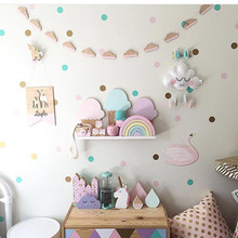 Nordic Style Wooden Banner Unicorn Clouds Feather Swan Woodchips Set Wall Hanging Garland For Kids Room Decor Photography Props