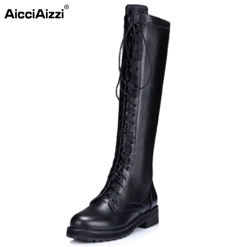 New Fashion Women Real Genuine Leather Knee Boots Woman Flat Martin Boot Female Round Toe Lace Up Shoes Size 33-40 front lace up casual ankle boots autumn vintage brown new booties flat genuine leather suede shoes round toe fall female fashion