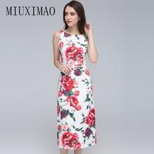 цены на Europe Style 2018 Spring Newest Fashion O-Neck Sleeveless Tank A-Line Floral Printed Casual Elegant Mid-Calf Dress Women в интернет-магазинах