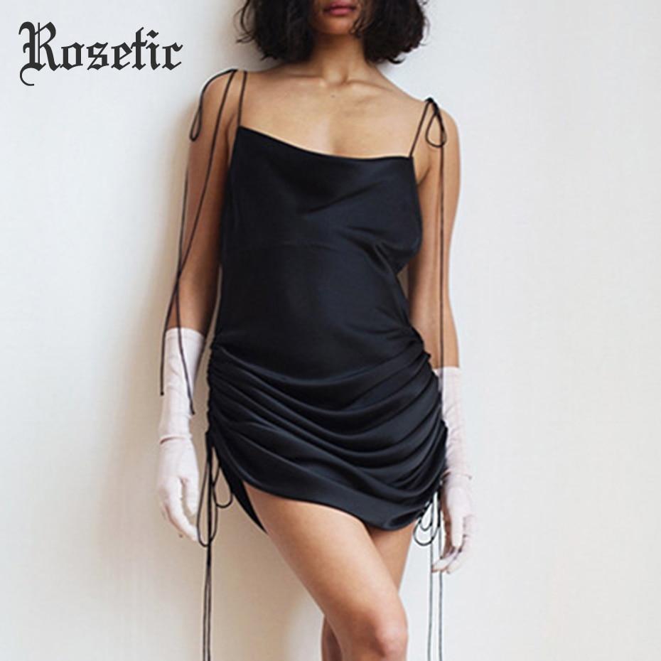 Rosetic Sexy Backless Pleated Braces Dress Women Summer Spaghetti Straps Bandage Lace Up Slash Neck Sleeveless Backless Dresses