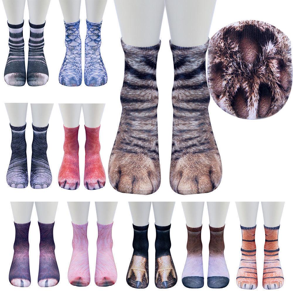 1pair Women Men Adult Unisex Animal Paw Crew Medium Socks Sublimated Print
