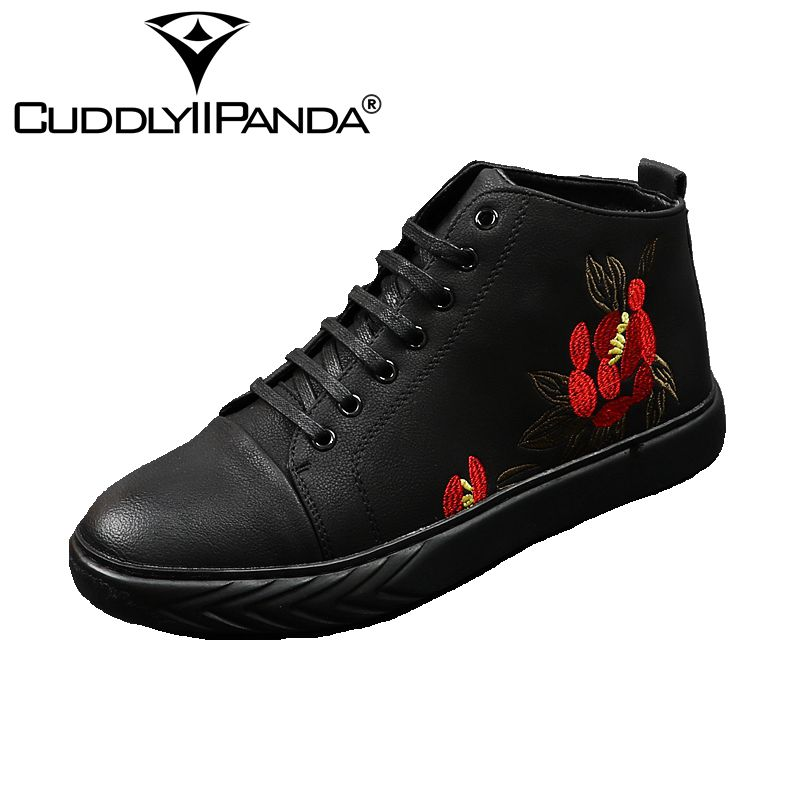 CUDDLYIIPANDA 2018 New Spring Autumn Men's Casual Shoes Prints Men High Top Vulcanize Shoes Man Fashion Lace Up Fashion Shoes 2016 new trend luxury brand high top man shoes flat fashion mixed color lace up spring autumn leather man casual shoes patchwork page 3