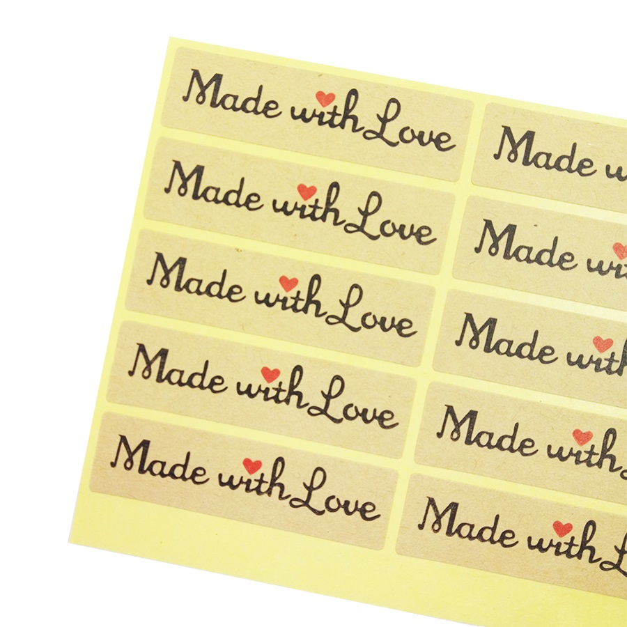 цена на 100 Pcs Made With Love Red Heart Sticker Gift Seal Stickers For Homemade Bakery & Gift Packaging Scrapbooking