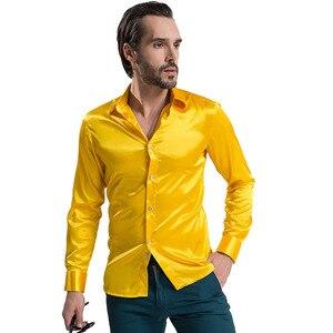 Image 4 - Moda brilhante vestido de cetim de seda camisa de seda de luxo como manga longa camisas casuais dos homens desempenho vestuário de palco