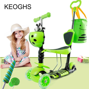 Image 4 - Children baby scooter kids 5in1 PU 3wheels Flashing Swing Car Lifting 2 15 Years Old Stroller Ride Bike Vehicle Outdoor Toys