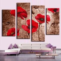 4 Pieces/Set Modern Wall Art Painting Strong Red Flowers Canvas Painting For Living Room Home Bar KTV Decor Unframe T30