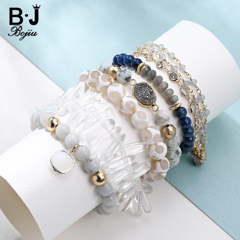 Bojiu 6pcs/set White Natural Stone Bracelets Stack Silver Druzy Gold Leaf Pendant Zircon Chain Mixed Woman Quatz Bead Bracelets