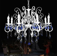 Lustres Wrought Iron Chandelier E14 Blue crystal white Candle Light antique iron chandelier industrial home luminaire lava lamps