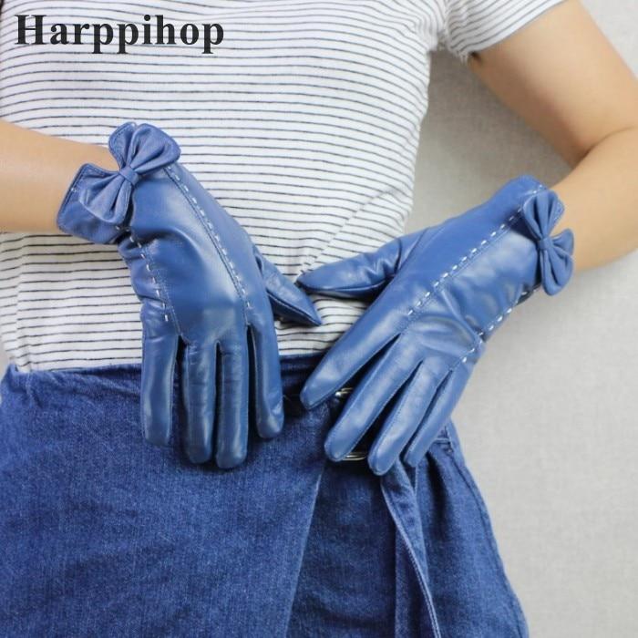New Lady Luxury Elegant Genuine Leather Lace Gloves