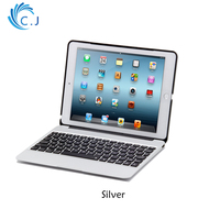All metal clamshell notebook Bluetooth keyboard for tablet iPad pro 9.7 iPad air2 with case Cover +7 Colors Backlit+ power bank