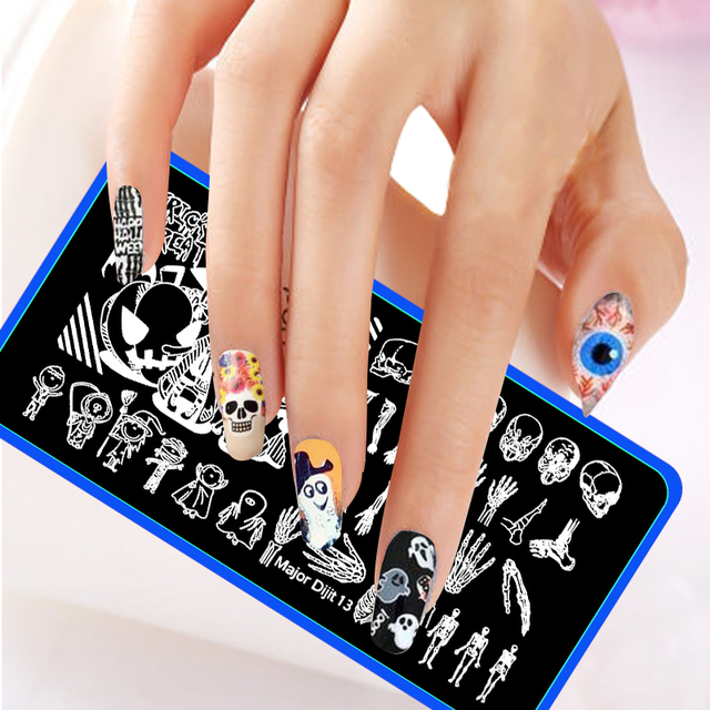 Happy halloween stainless steel nail art stamp template trick or happy halloween stainless steel nail art stamp template trick or treat skeleton hand head nail art prinsesfo Images