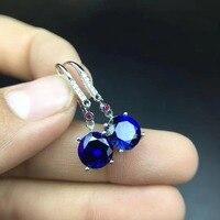 Сапфировые Серьги Бесплатная доставка натуральной сапфир 925 серебро Fine jewelry 8*8 мм 2 шт.