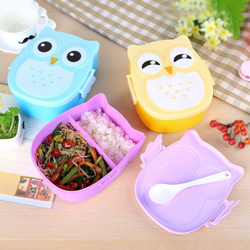 900ml Cute Owl Students Lunch Box With Spoon Kids Bento Box Food Container with compartments Dinnerware Case Storage Box