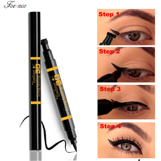 Nuevo Sexy impermeable doble cabeza negro forma de ala delineador de ojos sello delineador de ojos lápiz ojo de gato cosmético maquillaje herramienta Maquiagem