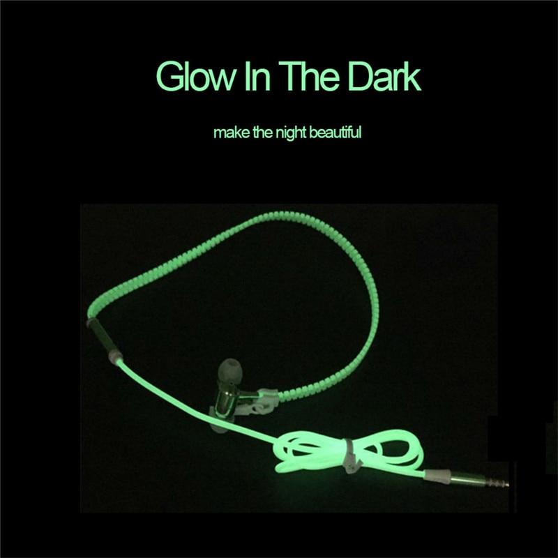 New Luminous Earphones Glow in the Dark Headset Light Metal Zipper Fashion Sports Earphone with Mic for Xiaomi Mobile Phone 6 7 graffiti party diy glow in the dark luminous pigment