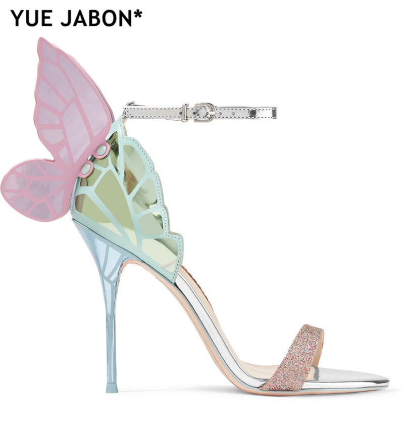 4f86bc316e5 US $57.94 39% OFF|Newest metallic embroidered leather sandals angel wings  pumps bridal shoes butterfly ankle wrap high heels sandals Dress Sandals-in  ...