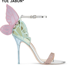 Dress Sandals Bridal-Shoes Angel-Wings High-Heels Butterfly Embroidered Pumps Metallic