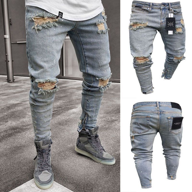 2019 Men Stylish Ripped Jeans Pants Biker Slim Straight Hip Hop Frayed Denim Trousers New Fashion Skinny  Broken Hole Jeans 3XL