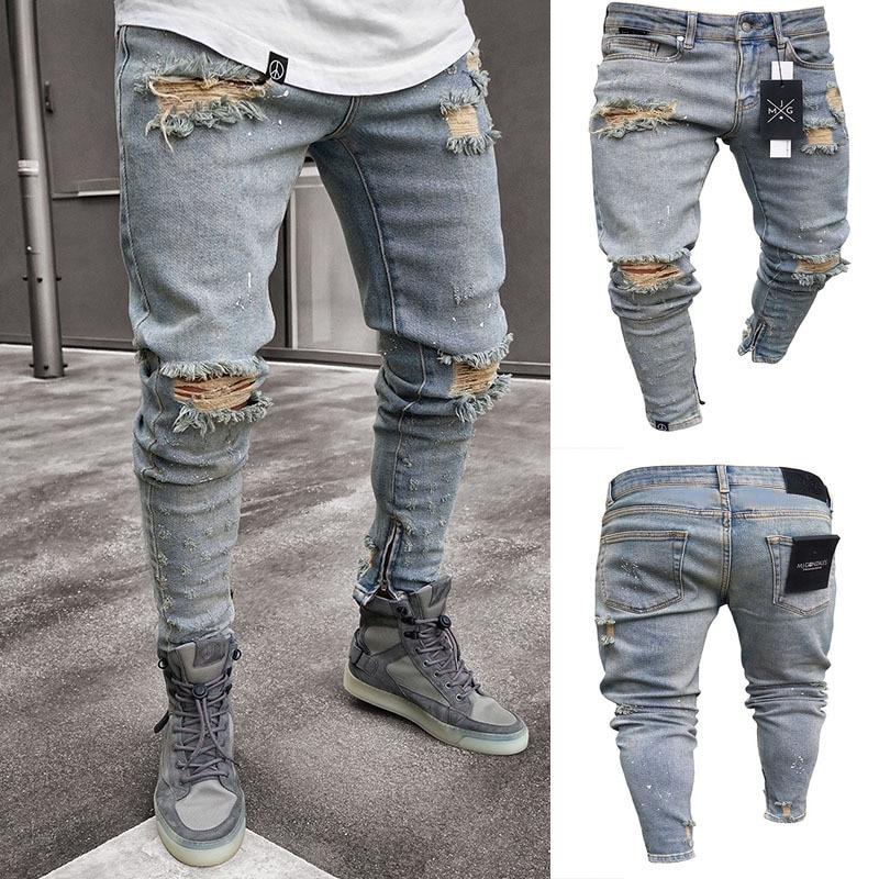 2019 Men Stylish Ripped Jeans Pants Biker Slim Straight Hip Hop Frayed Denim Trousers New Fashion Skinny  Broken Hole Jeans 3XL