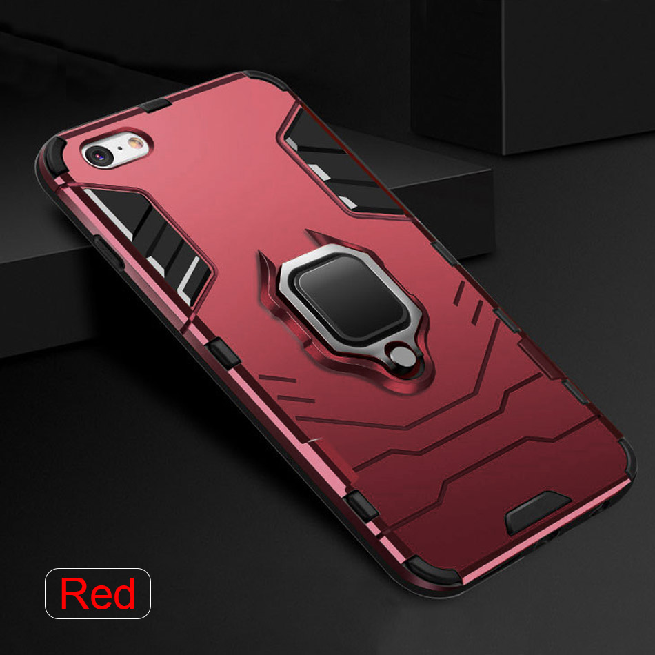 Luxury Armor Holder Phone Case For iphone 7 8 6 6s PLus TPU Anti-knock Full Cover For iphone X XR XS Max Metal Ring Bracket Case