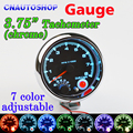 "7 LED Colors Adjustable Tachometer Chrome 95mm 3.75 Inch for 12V Car Gauge 3 3/4"" Meter 0-8000 RPM TAC Shift-Light"