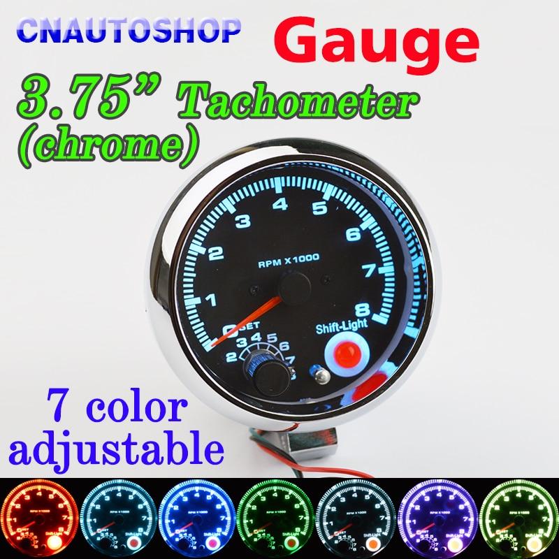 Dragon Gauge 3.75 Inch 95mm Car Gauge Tachometer Meter 12V 7 LED Colors Adjustable 0-8000 RPM Chrome Shell dragon gauge 3 75 inch 95mm car gauge tachometer meter 12v 7 led colors adjustable 0 8000 rpm chrome shell