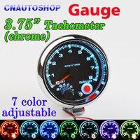 7 LED Colors Adjustable Tachometer Chrome 95mm 3 75 Inch For 12V Car Gauge 3 3