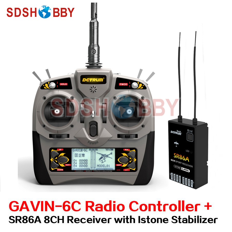 Detrum GAVIN-6C Transmitter Set Remote Controller with SR86A Istone Stabilizer 8CH Receiver for RC Fixed Wing Airplane gavin james amsterdam
