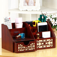 Solid Wooden Pen Container on Office Desktop Storage Box Household Tea Table Remote Control Organizer Make Up Storage Box F