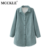MCCKLE Women Plaid Fleeced Thick Plus Size 4XL Shirts New Autumn Female Pocket Long Sleeve Blouses