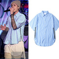 Uwback 2017 Summer Short Sleeve Shirt Men Streetwear Striped Side Zipper Arc Hem Men's Shirts FEAR OF GOD Bieber Shirt CAA395