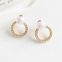 Earrings fashion round exquisite earrings jewelry wholesale Ms pearl pendant earrings 2018Circle the pendants wholesale цена
