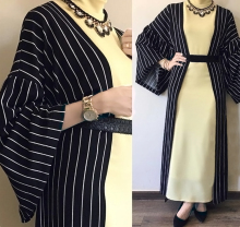 Muslim Abaya Dress Islamic Clothes Women Striped Cardigan  Middle East Robes Arab Long Gown Dubai Kaftan Turkish Ne