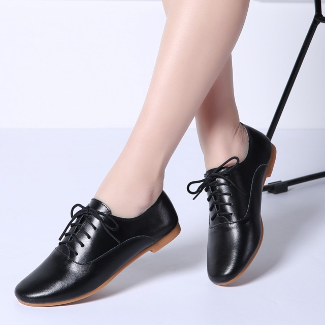 a2b9937c1d24 Ladies Winter Ballet Flats Shoes Genuine Leather Lace Up Woman Casual Ballerina  Flats Chaussure Femme Oxford Shoes for Women 051