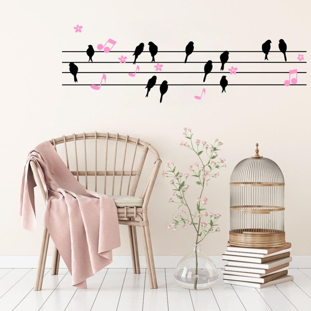 Music Notes Birds Flowers Butterflies Stave Wall Sticker Nursery Decal Art Decor