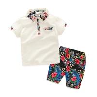 Summer Boys Clothing Sets Children Clothing Set Kids Boy Clothes Floral Print Shirt+Shorts 2PC Suit Gentleman Suit With Collar