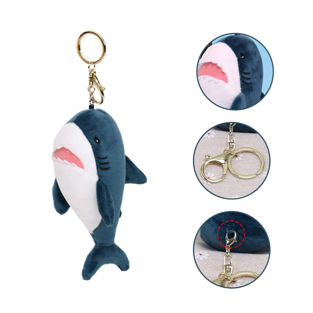 Bag Decoration Creative Scented Soft Plush Cartoon Shark Keychain Bag Pendant Key Ring Holder Soft Hanging Decoration Keychain