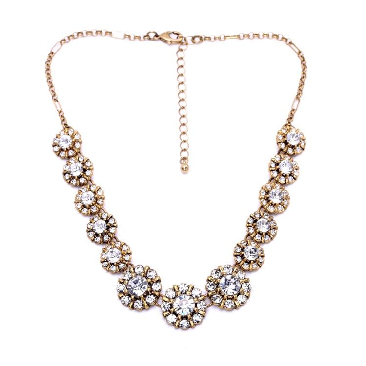 f0f87f5147e0 Collar geométrico para las mujeres ronda de oro redondo color Colgantes  cadena larga joyería cristales flor accesorio de moda