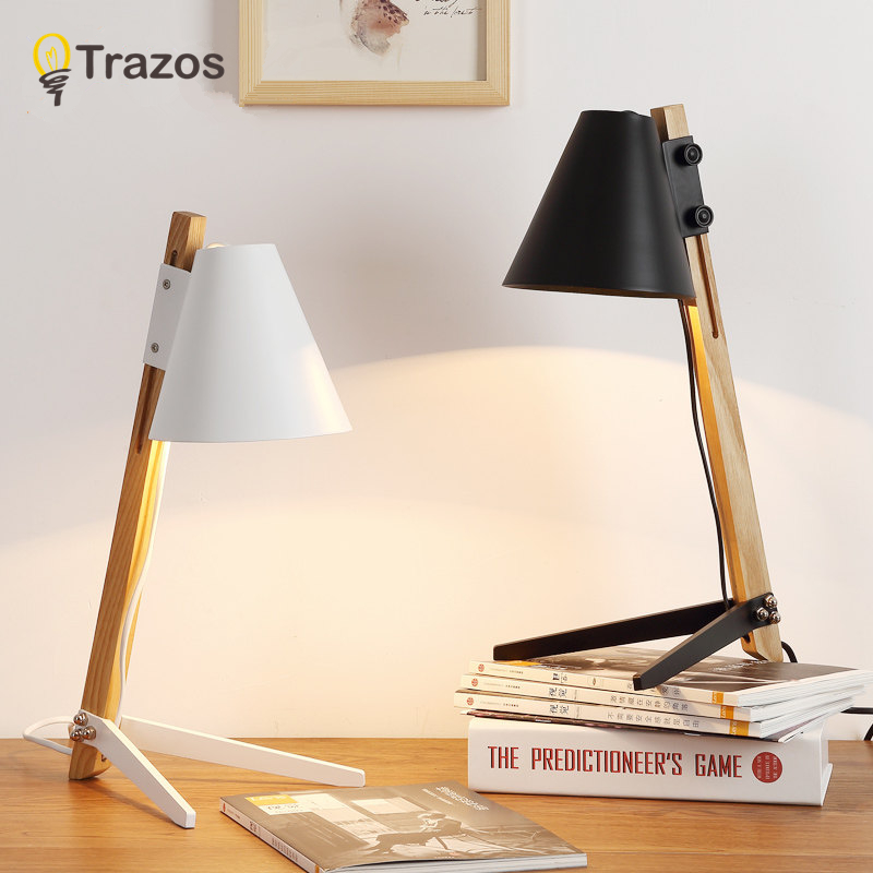 TRAZOS Modern Table Lamps With Black Iron Lampshade For Bedroom Reading Light Luminaria de mesa Simple E27 Wood Book Lights trazos modern table lamp hotel book lights lamparas de mesa bedside reading light e27 luminaria de mesa with led bulb for free