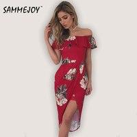 Sammejoy 3 Colour 2017 Summer Fashion Women S New Dresses Sexy Ruffle Dress Casual Style Asymmetrical