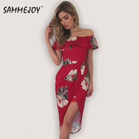 Sammejoy 3 Colour 2017 Summer Fashion Women S New Dresses Sexy Ruffle Dress Casual Style Asymmetrical